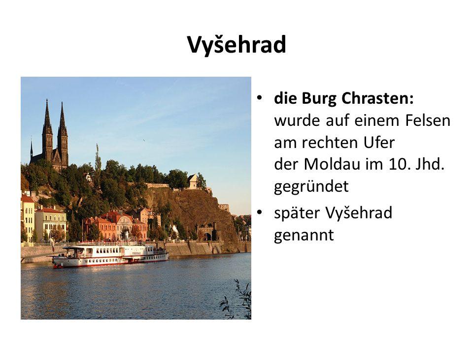Vyšehrad die Burg Chrasten: wurde auf einem Felsen am rechten Ufer der Moldau im 10.