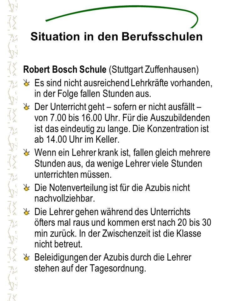 Situation in den Berufsschulen Robert Bosch Schule (Stuttgart Zuffenhausen) Es sind nicht ausreichend Lehrkräfte vorhanden, in der Folge fallen Stunden aus.