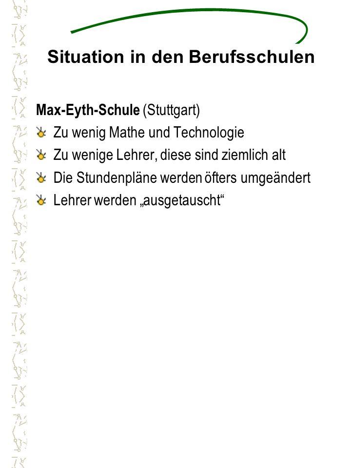 """Situation in den Berufsschulen Max-Eyth-Schule (Stuttgart) Zu wenig Mathe und Technologie Zu wenige Lehrer, diese sind ziemlich alt Die Stundenpläne werden öfters umgeändert Lehrer werden """"ausgetauscht"""
