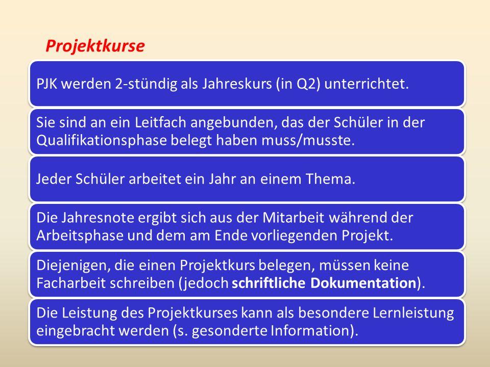 Projektkurse PJK werden 2-stündig als Jahreskurs (in Q2) unterrichtet.