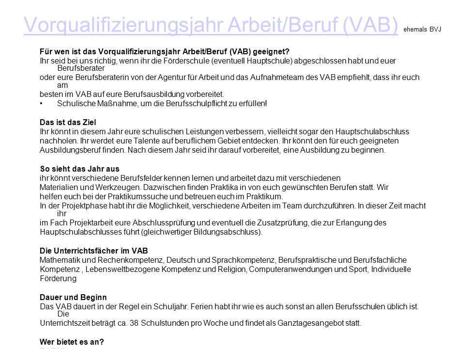 Vorqualifizierungsjahr Arbeit/Beruf (VAB)Vorqualifizierungsjahr Arbeit/Beruf (VAB) ehemals BVJ Für wen ist das Vorqualifizierungsjahr Arbeit/Beruf (VAB) geeignet.