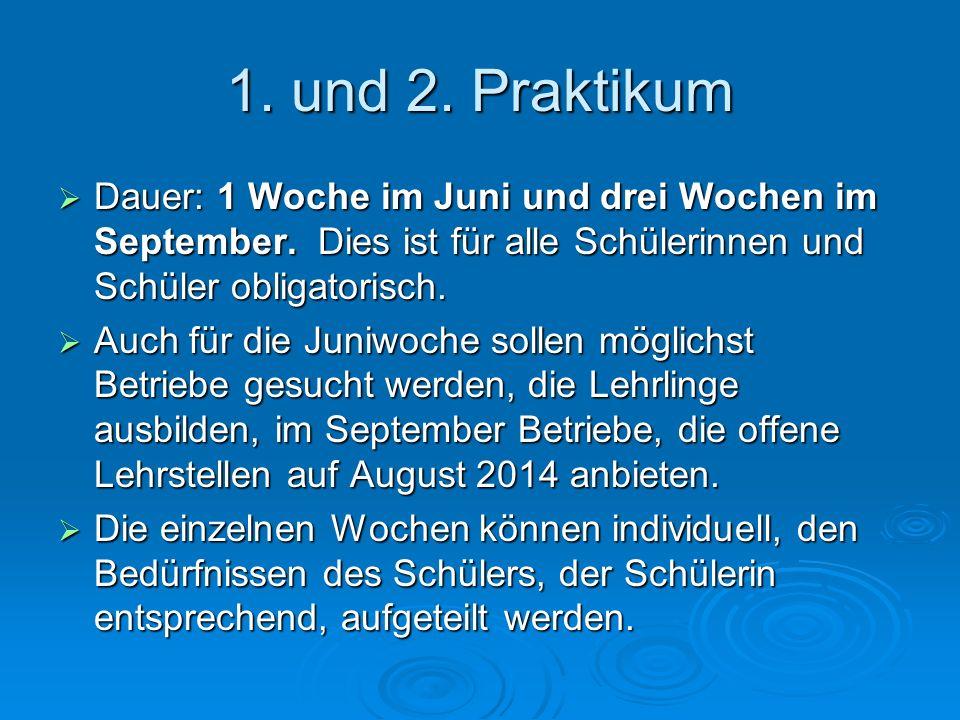 1. und 2. Praktikum  Dauer: 1 Woche im Juni und drei Wochen im September. Dies ist für alle Schülerinnen und Schüler obligatorisch.  Auch für die Ju