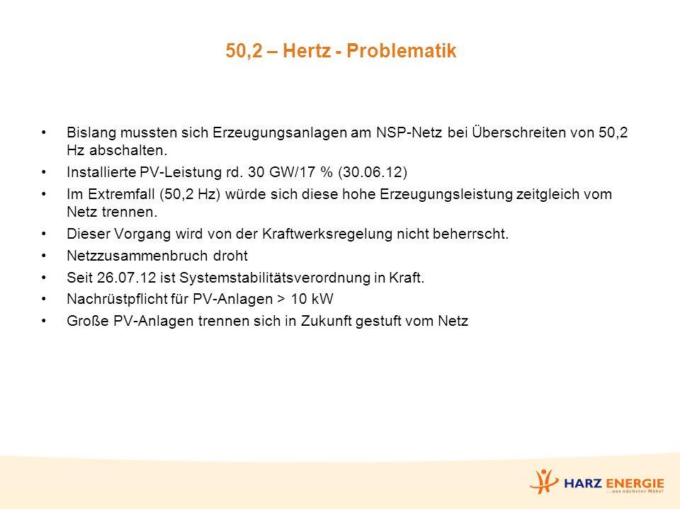 50,2 – Hertz - Problematik Bislang mussten sich Erzeugungsanlagen am NSP-Netz bei Überschreiten von 50,2 Hz abschalten.