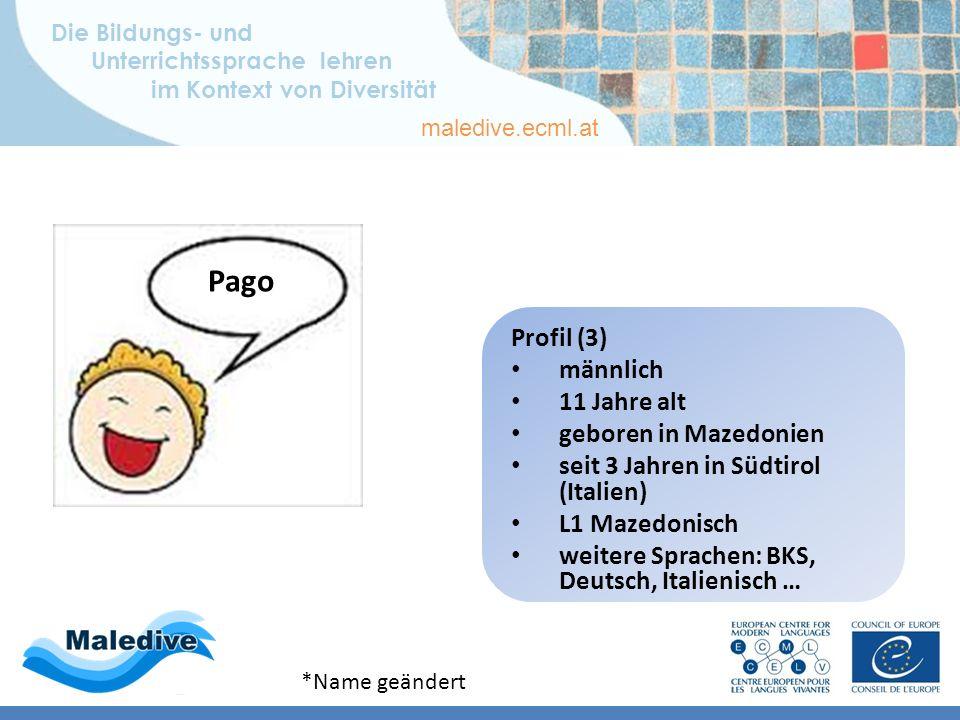 Die Bildungs- und Unterrichtssprache lehren im Kontext von Diversität maledive.ecml.at Lernerprofile – deutsch Profil 3