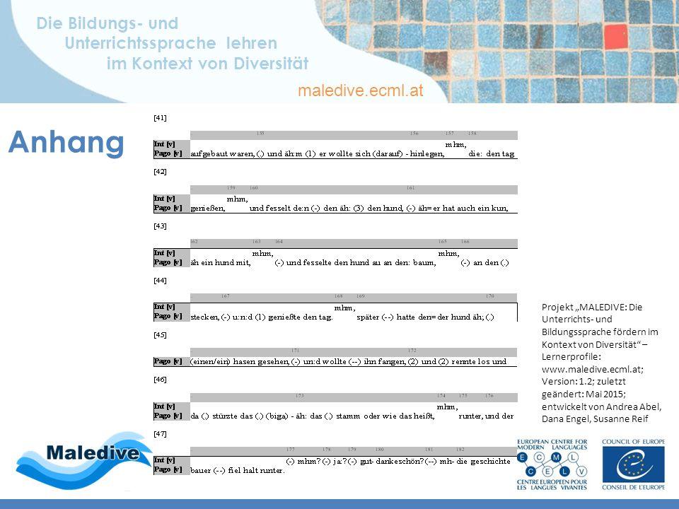 Die Bildungs- und Unterrichtssprache lehren im Kontext von Diversität maledive.ecml.at Anhang