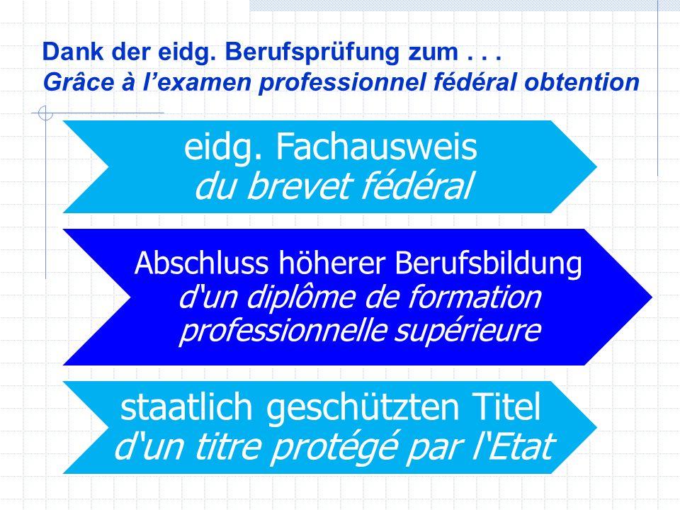Dank der eidg. Berufsprüfung zum... Grâce à l'examen professionnel fédéral obtention eidg.