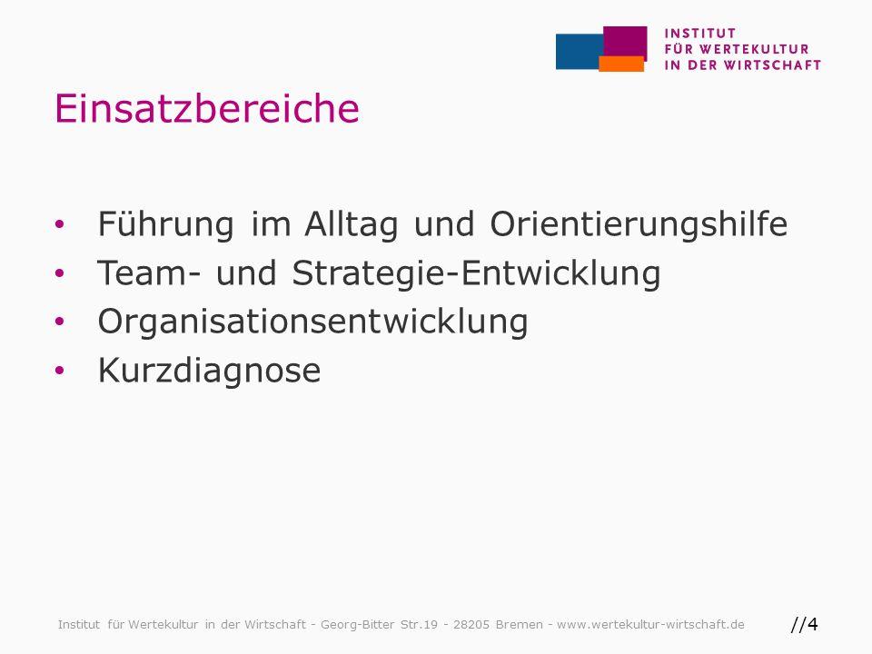 //5 Grundsatzfragen Institut für Wertekultur in der Wirtschaft - Georg-Bitter Str.19 - 28205 Bremen - www.wertekultur-wirtschaft.de Quelle: Der Organisationskompass, Buhl-Böhnert & Schönberg, 2015, S.86