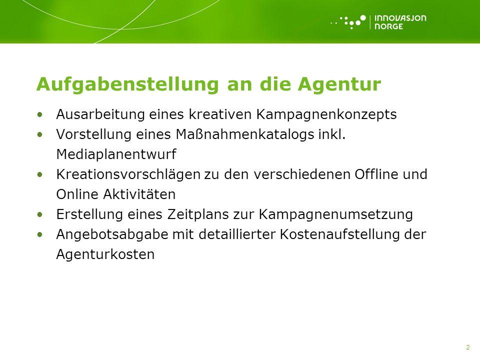 2 Aufgabenstellung an die Agentur Ausarbeitung eines kreativen Kampagnenkonzepts Vorstellung eines Maßnahmenkatalogs inkl.