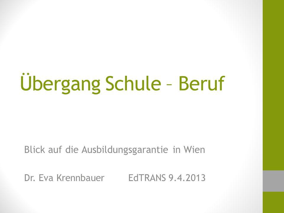 Übergang Schule – Beruf Blick auf die Ausbildungsgarantie in Wien Dr.