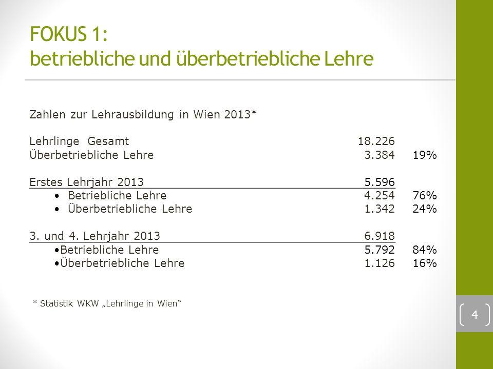 4 FOKUS 1: betriebliche und überbetriebliche Lehre Zahlen zur Lehrausbildung in Wien 2013* Lehrlinge Gesamt18.226 Überbetriebliche Lehre3.384 19% Erstes Lehrjahr 2013 5.596 Betriebliche Lehre4.254 76% Überbetriebliche Lehre1.342 24% 3.