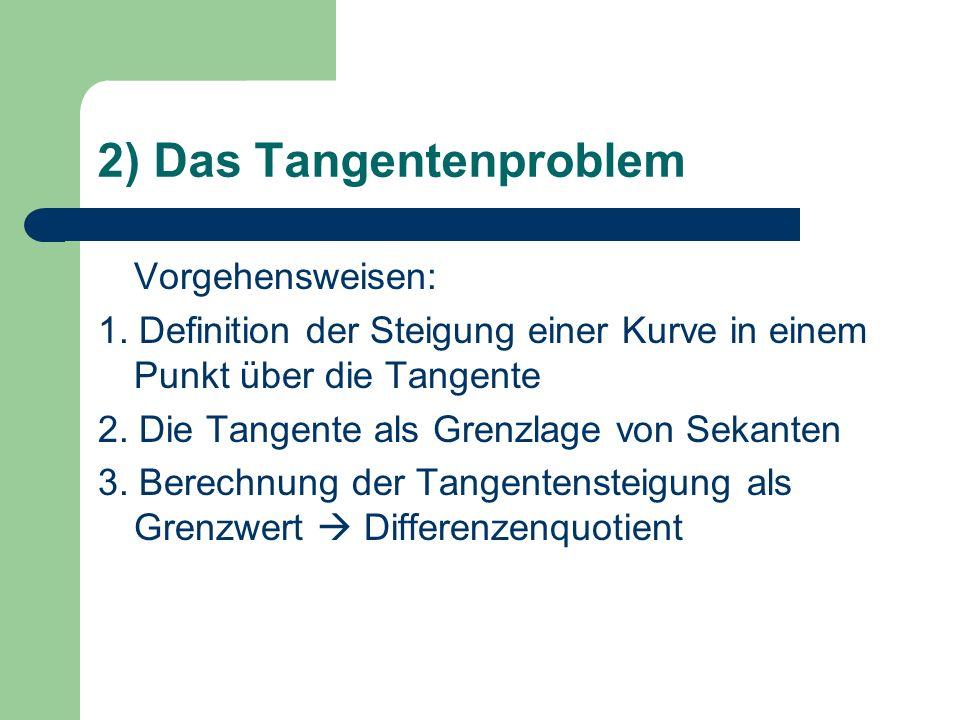 2) Das Tangentenproblem Vorgehensweisen: 1.