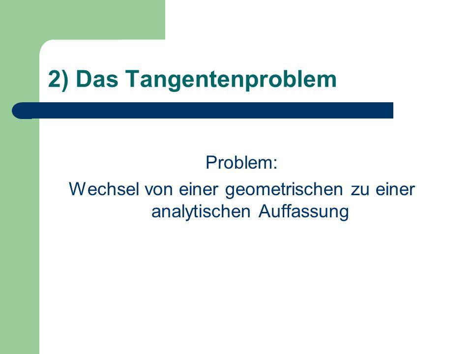 2) Das Tangentenproblem Problem: Wechsel von einer geometrischen zu einer analytischen Auffassung