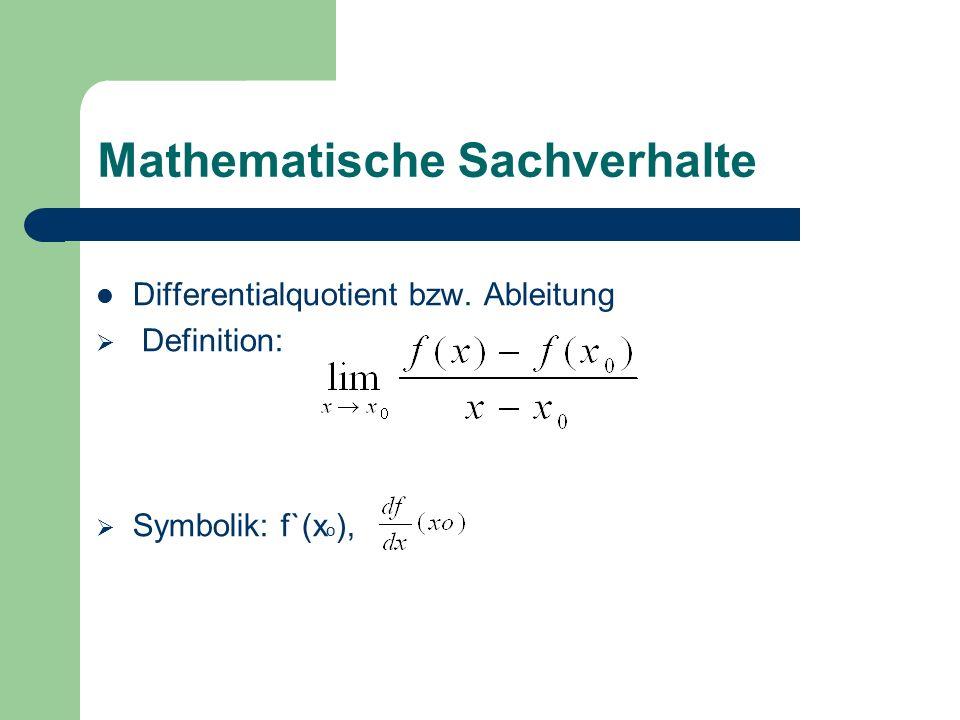 Mathematische Sachverhalte Differentialquotient bzw. Ableitung  Definition:  Symbolik: f`(x o ),