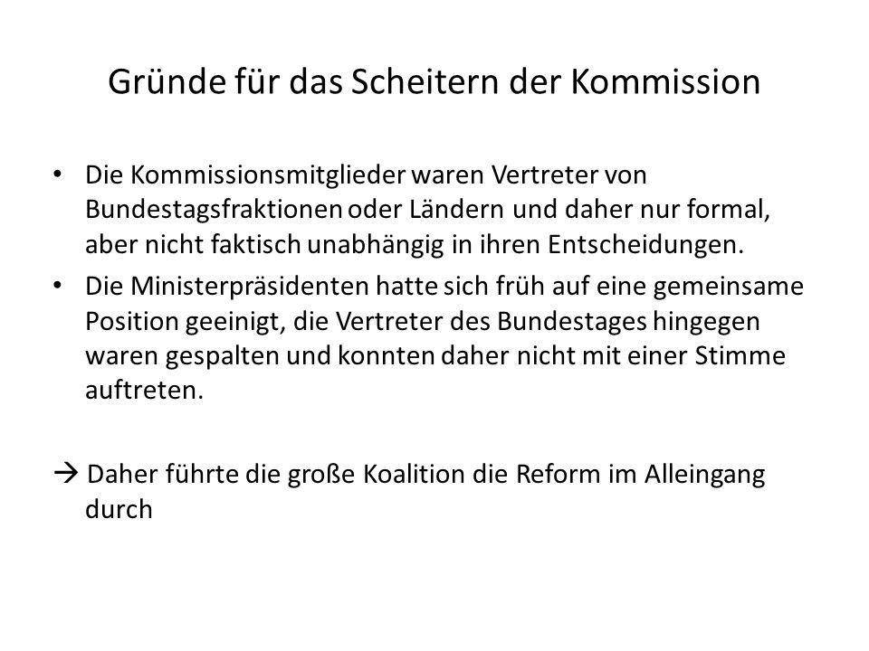 Gründe für das Scheitern der Kommission Die Kommissionsmitglieder waren Vertreter von Bundestagsfraktionen oder Ländern und daher nur formal, aber nicht faktisch unabhängig in ihren Entscheidungen.