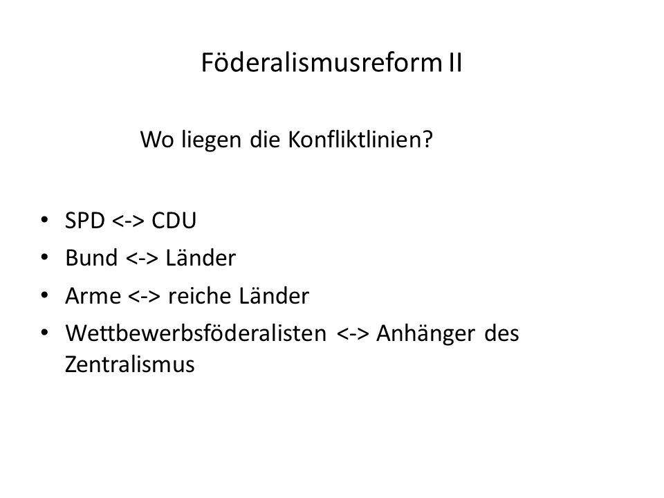 Föderalismusreform II Wo liegen die Konfliktlinien.