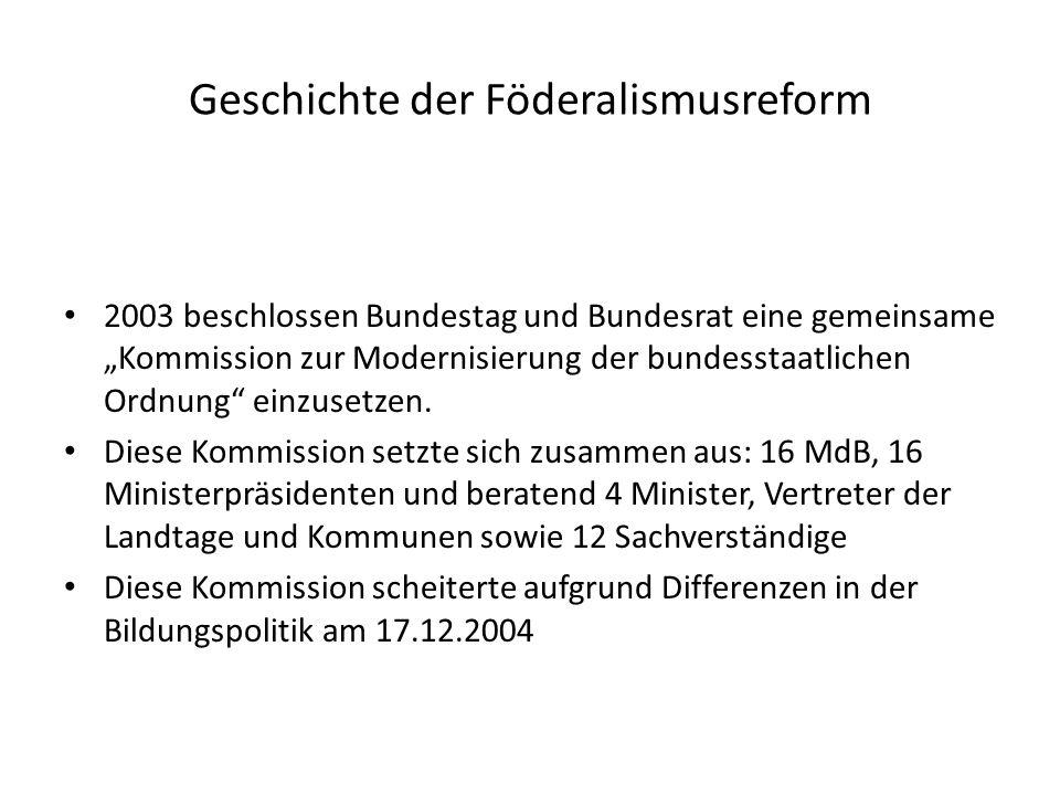 Geschichte der Föderalismusreform Im Koalitionsvertrag von CDU/CSU und SPD 2005 einigte man sich auf eine Modernisierung der bundesstaatlichen Ordnung Diese sollte auf die Ergebnisse der Föderalismuskommission aufbauen Am 10.03.2006 wurde der Gesetzentwurf eingebracht Am 01.09.2006 trat dieser in Kraft
