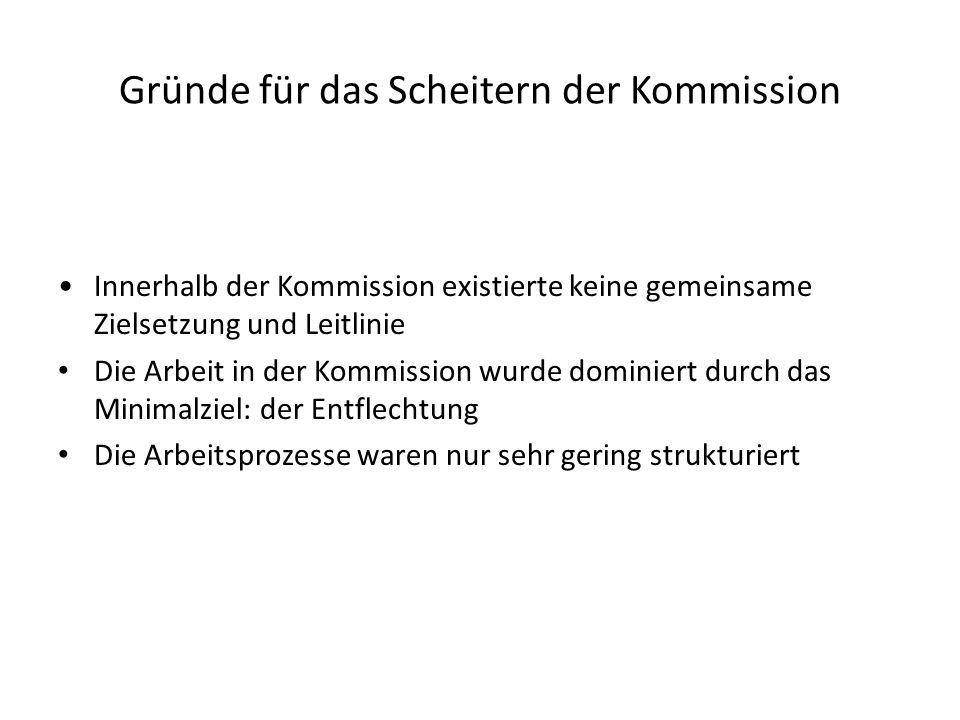 Gründe für das Scheitern der Kommission Innerhalb der Kommission existierte keine gemeinsame Zielsetzung und Leitlinie Die Arbeit in der Kommission wurde dominiert durch das Minimalziel: der Entflechtung Die Arbeitsprozesse waren nur sehr gering strukturiert