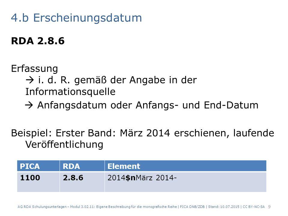 4.b Erscheinungsdatum RDA 2.8.6 Erfassung  i.d. R.