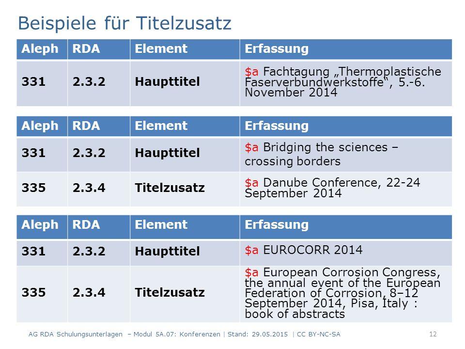 """12 AlephRDAElementErfassung 3312.3.2Haupttitel $a Fachtagung """"Thermoplastische Faserverbundwerkstoffe"""", 5.-6. November 2014 Beispiele für Titelzusatz"""