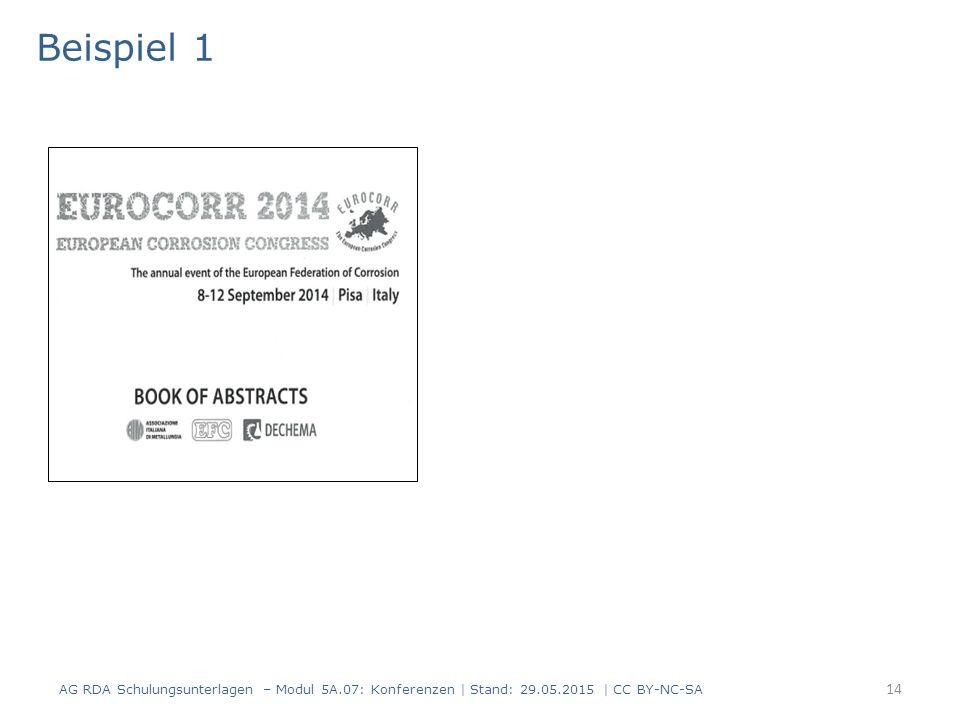 14 Beispiel 1 AG RDA Schulungsunterlagen – Modul 5A.07: Konferenzen | Stand: 29.05.2015 | CC BY-NC-SA