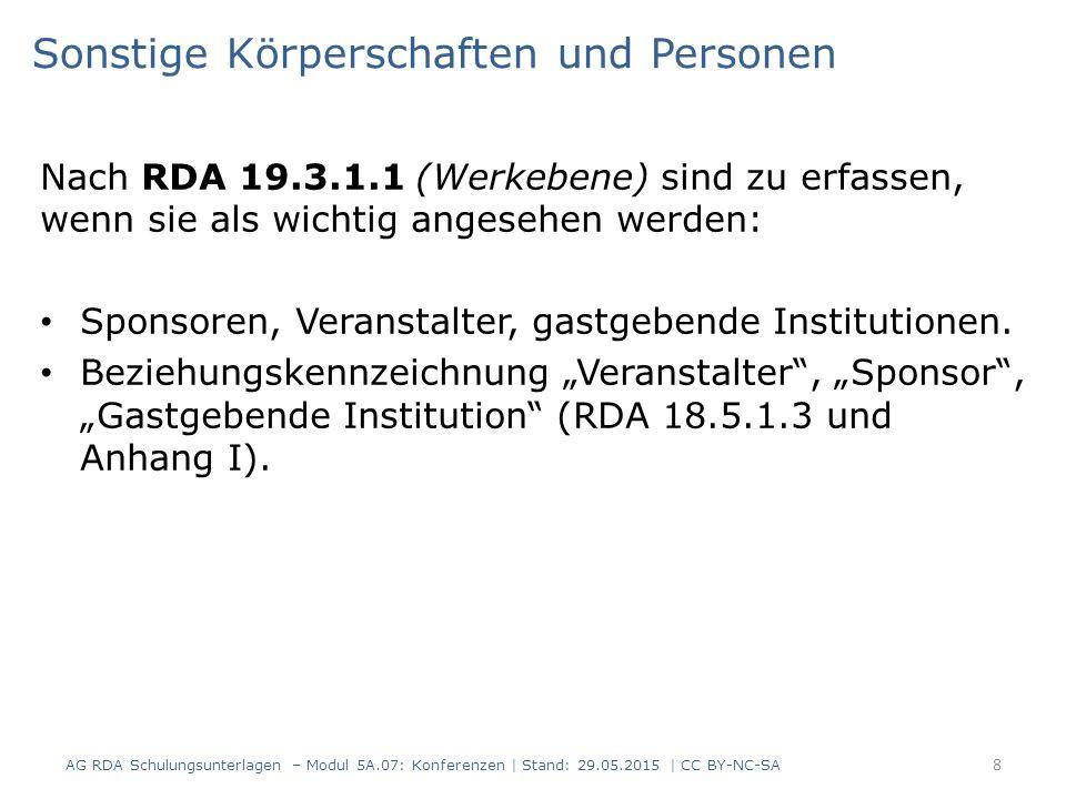 Sonstige Körperschaften und Personen Nach RDA 19.3.1.1 (Werkebene) sind zu erfassen, wenn sie als wichtig angesehen werden: Sponsoren, Veranstalter, gastgebende Institutionen.