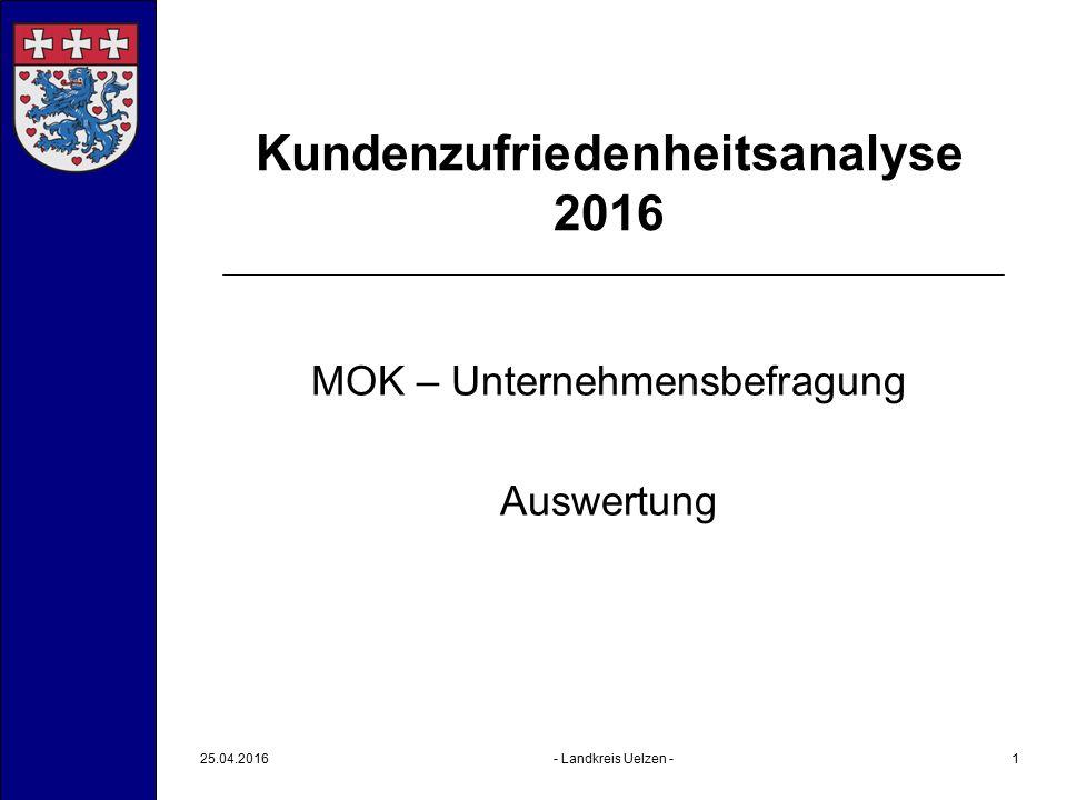 25.04.2016- Landkreis Uelzen -2 Kundenzufriedenheitsanalyse 2016 Befragung vom 14.01.2016 bis 10.02.2016 durchgeführt über ein Online-Softwaretool (www.surveymonkey.de), das u.a.