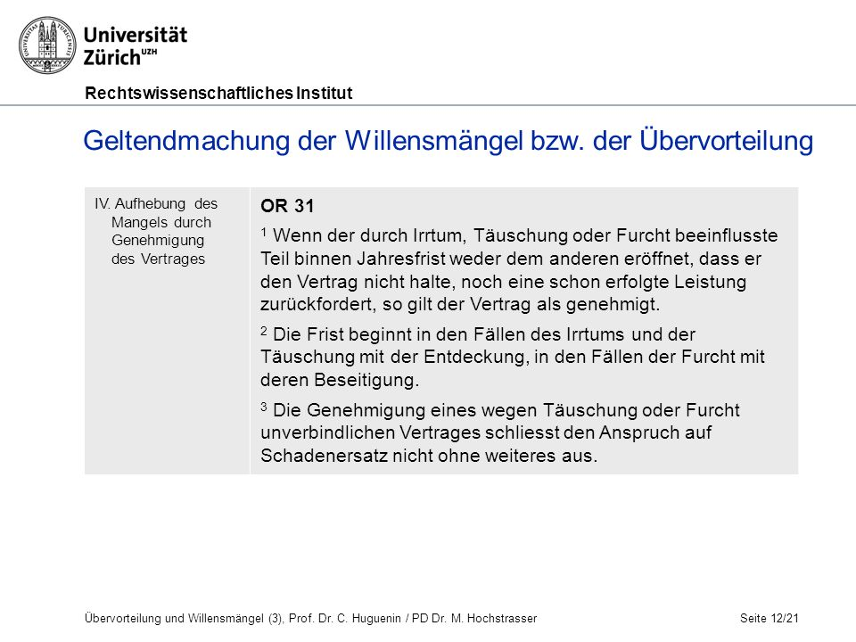 Rechtswissenschaftliches Institut Seite 12/21 Geltendmachung der Willensmängel bzw.