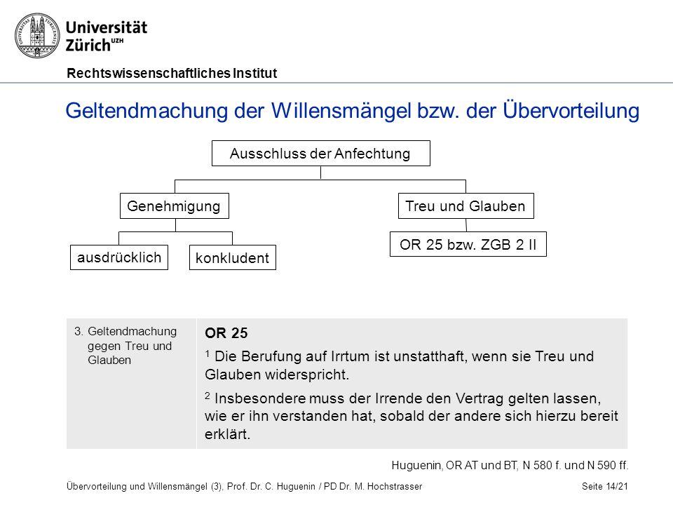 Rechtswissenschaftliches Institut Seite 14/21 Ausschluss der Anfechtung Genehmigung ausdrücklich Treu und Glauben OR 25 bzw.