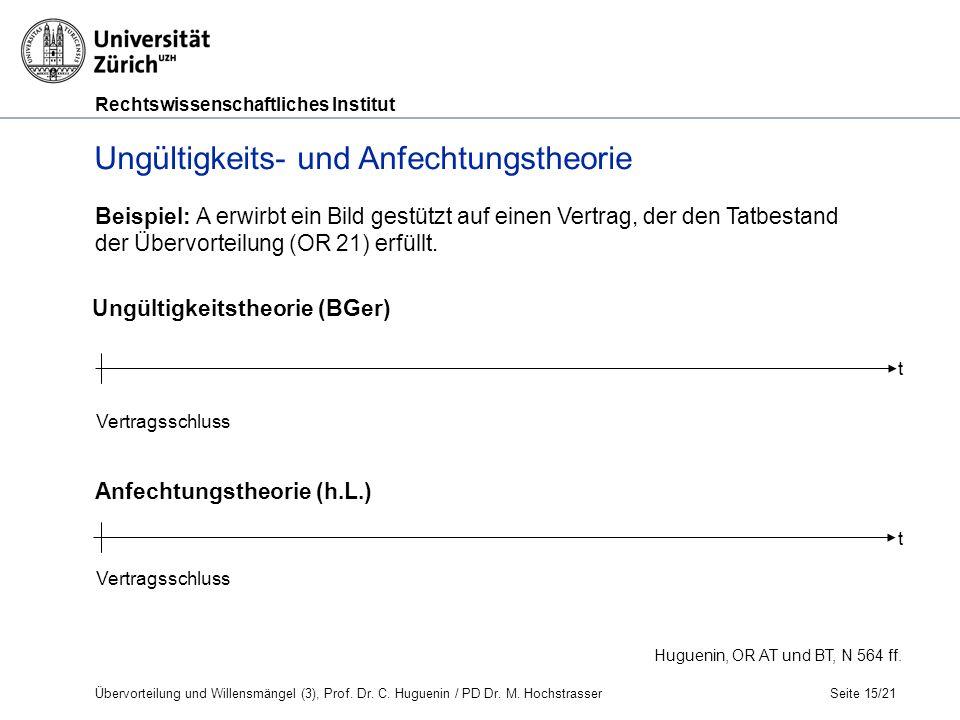 Rechtswissenschaftliches Institut Seite 15/21 Huguenin, OR AT und BT, N 564 ff.