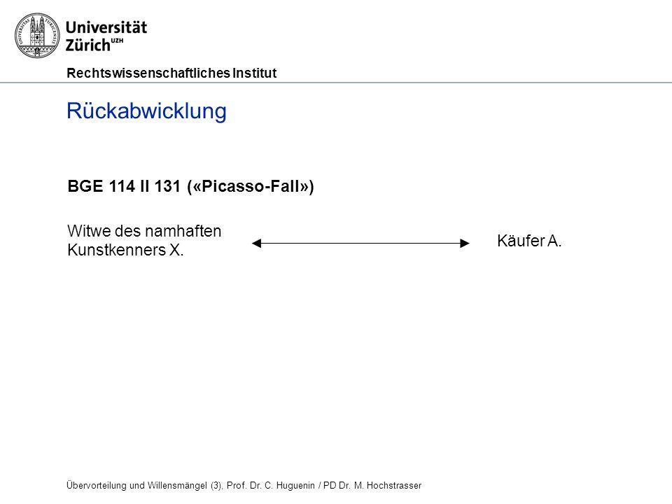 Rechtswissenschaftliches Institut Rückabwicklung BGE 114 II 131 («Picasso-Fall») Witwe des namhaften Kunstkenners X.