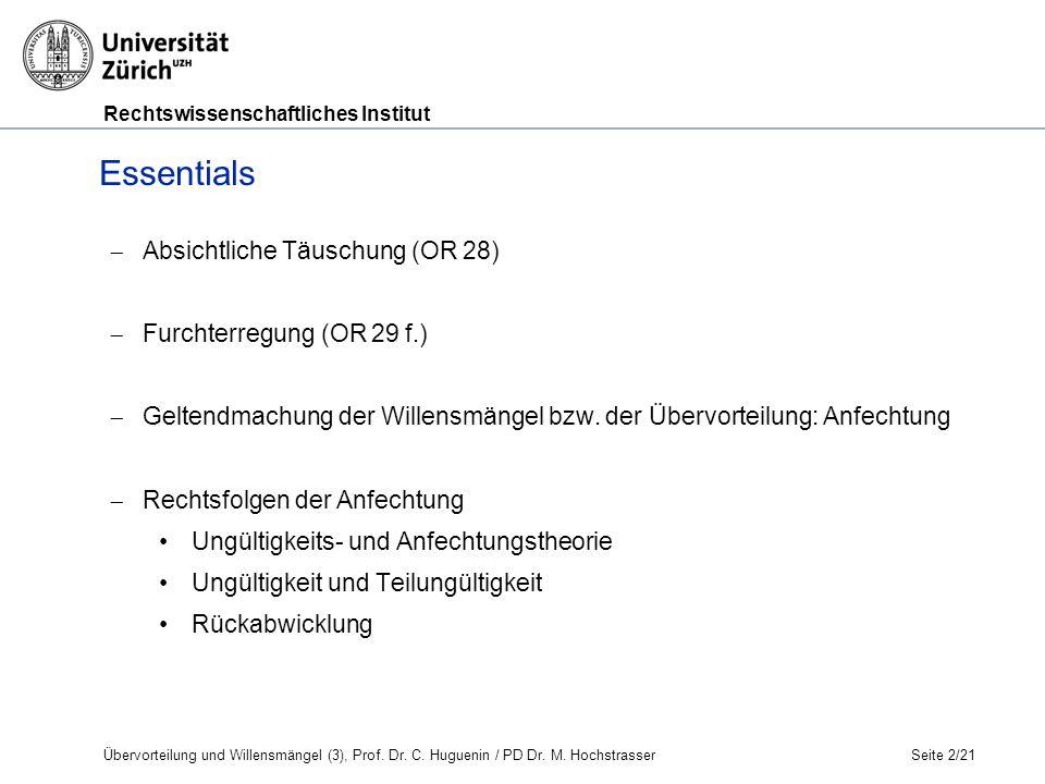 Rechtswissenschaftliches Institut Übervorteilung und Willensmängel (3), Prof.