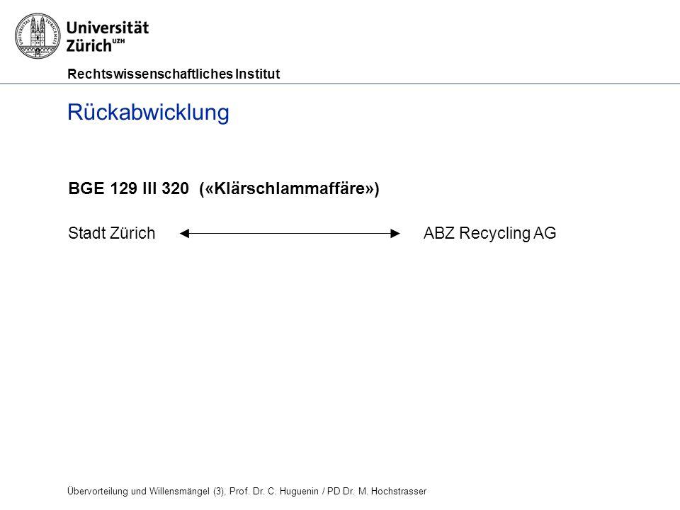 Rechtswissenschaftliches Institut Rückabwicklung BGE 129 III 320 («Klärschlammaffäre») Stadt Zürich ABZ Recycling AG Übervorteilung und Willensmängel (3), Prof.