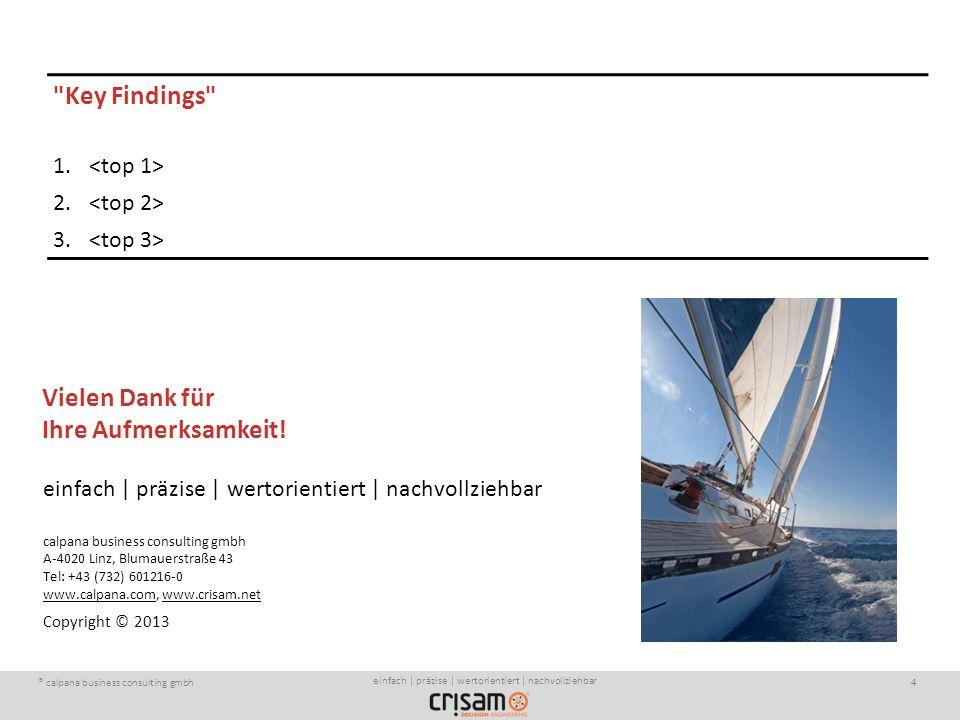 ® calpana business consulting gmbh4 einfach | präzise | wertorientiert | nachvollziehbar calpana business consulting gmbh A-4020 Linz, Blumauerstraße 43 Tel: +43 (732) 601216-0 www.calpana.com, www.crisam.net Copyright © 2013 einfach | präzise | wertorientiert | nachvollziehbar Key Findings 1.
