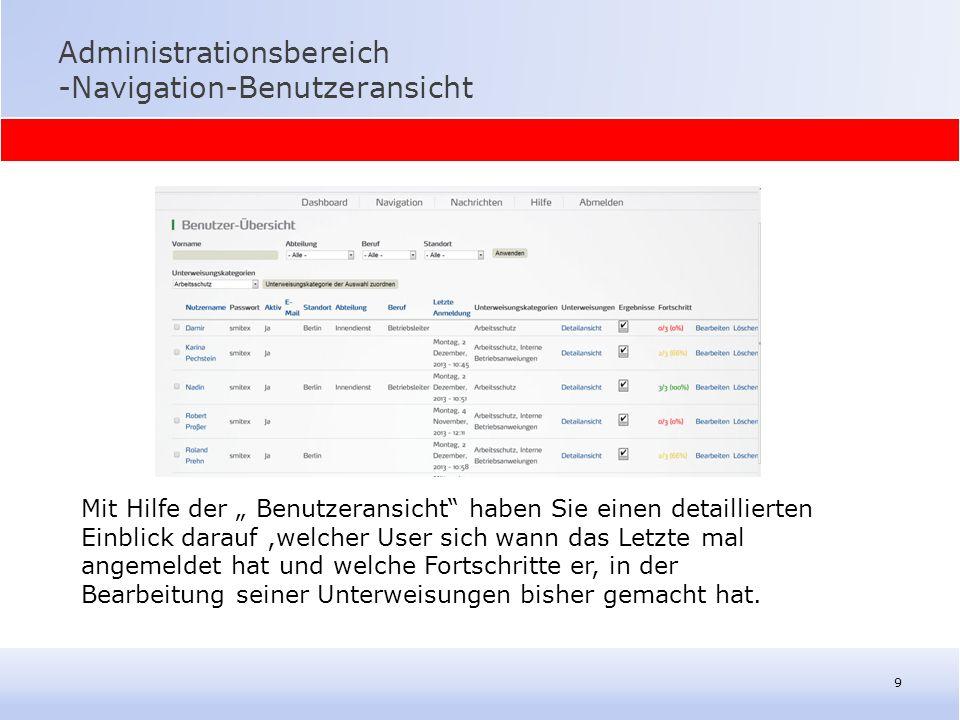 """Administrationsbereich -Navigation-Benutzeransicht 9 Mit Hilfe der """" Benutzeransicht"""" haben Sie einen detaillierten Einblick darauf,welcher User sich"""