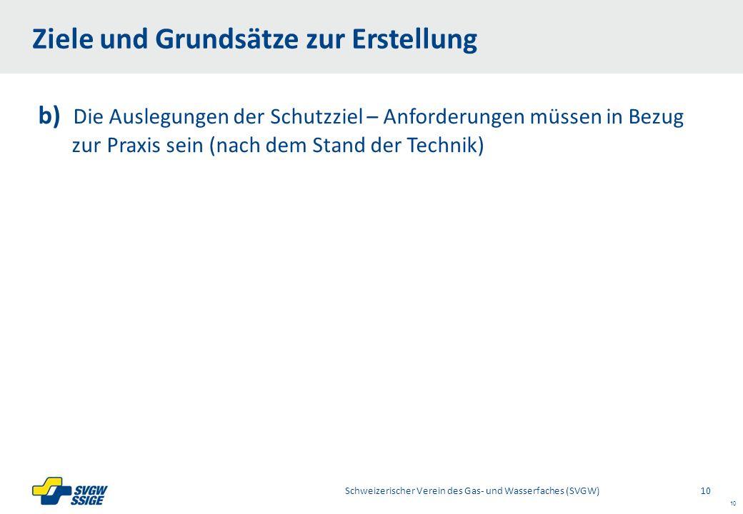 Right11.60Left 11.60 7.60 Placeholder 6.00 6.80 Placeholder title Placeholder Top 9.20 Bottom 9.20 10 b) Die Auslegungen der Schutzziel – Anforderungen müssen in Bezug zurPraxis sein (nach dem Stand der Technik) Ziele und Grundsätze zur Erstellung Schweizerischer Verein des Gas- und Wasserfaches (SVGW) 10