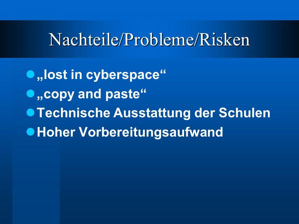"""Nachteile/Probleme/Risken """"lost in cyberspace """"copy and paste Technische Ausstattung der Schulen Hoher Vorbereitungsaufwand"""