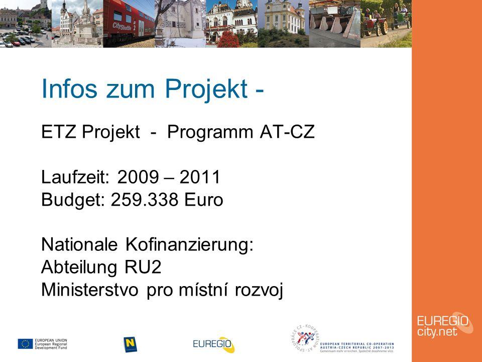 Infos zum Projekt - ETZ Projekt - Programm AT-CZ Laufzeit: 2009 – 2011 Budget: 259.338 Euro Nationale Kofinanzierung: Abteilung RU2 Ministerstvo pro místní rozvoj