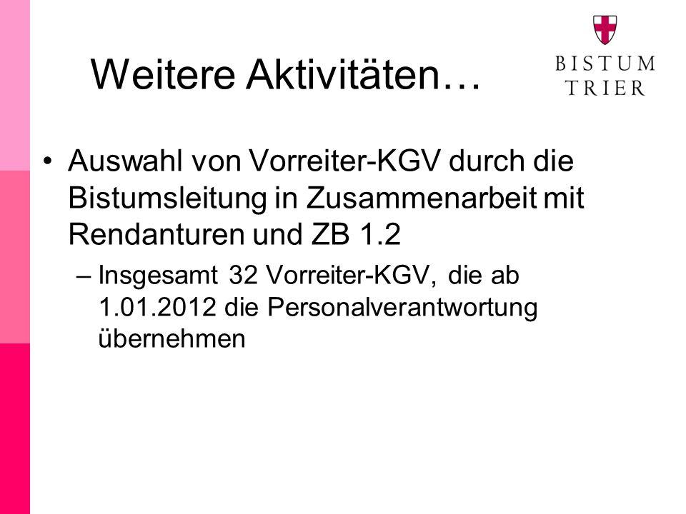 Weitere Aktivitäten… Auswahl von Vorreiter-KGV durch die Bistumsleitung in Zusammenarbeit mit Rendanturen und ZB 1.2 –Insgesamt 32 Vorreiter-KGV, die ab 1.01.2012 die Personalverantwortung übernehmen