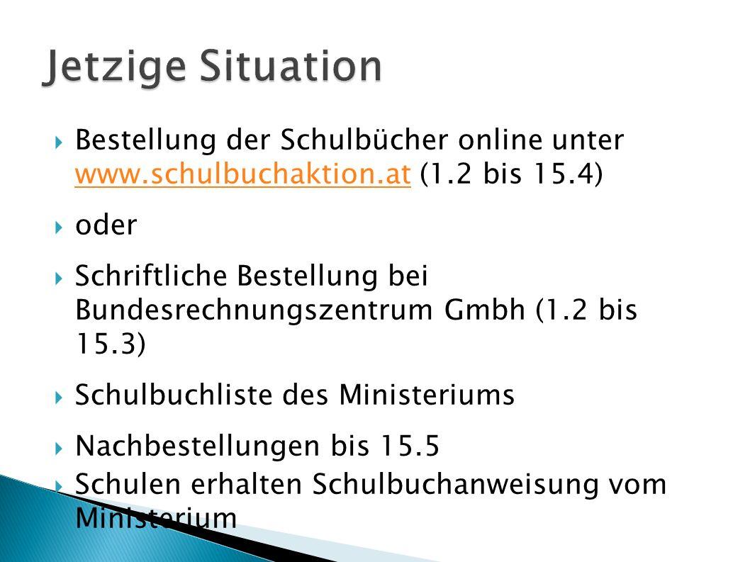  Bestellung der Schulbücher online unter www.schulbuchaktion.at (1.2 bis 15.4) www.schulbuchaktion.at  oder  Schriftliche Bestellung bei Bundesrechnungszentrum Gmbh (1.2 bis 15.3)  Schulbuchliste des Ministeriums  Nachbestellungen bis 15.5  Schulen erhalten Schulbuchanweisung vom Ministerium