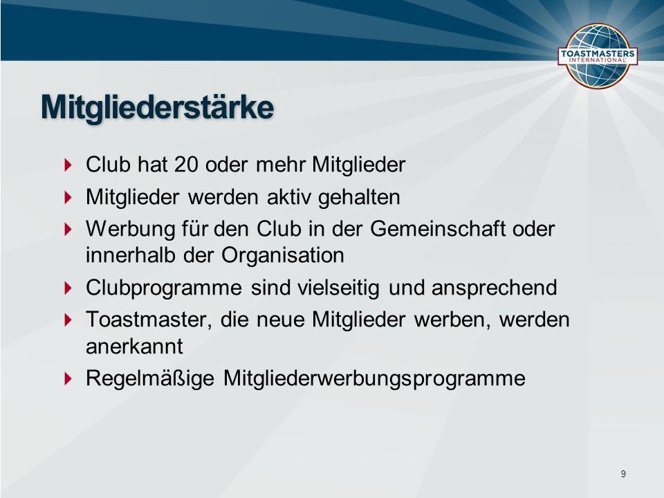  Club hat 20 oder mehr Mitglieder  Mitglieder werden aktiv gehalten  Werbung für den Club in der Gemeinschaft oder innerhalb der Organisation  Clu