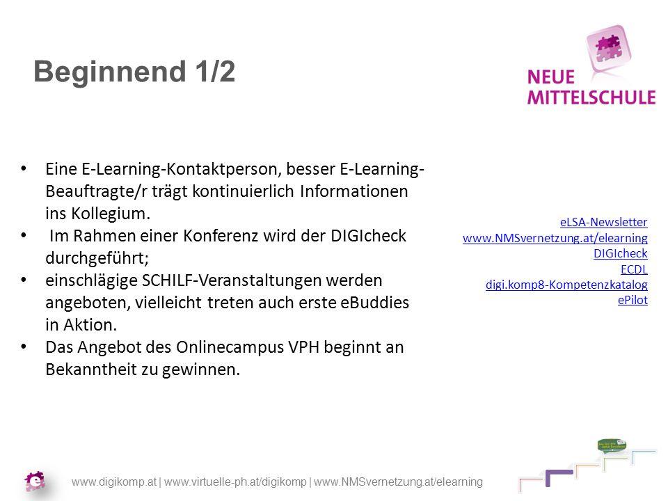 www.digikomp.at | www.virtuelle-ph.at/digikomp | www.NMSvernetzung.at/elearning Beginnend 1/2 Eine E-Learning-Kontaktperson, besser E-Learning- Beauftragte/r trägt kontinuierlich Informationen ins Kollegium.