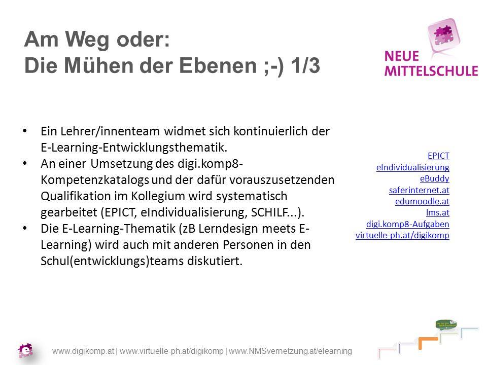 www.digikomp.at | www.virtuelle-ph.at/digikomp | www.NMSvernetzung.at/elearning Am Weg oder: Die Mühen der Ebenen ;-) 1/3 Ein Lehrer/innenteam widmet sich kontinuierlich der E-Learning-Entwicklungsthematik.