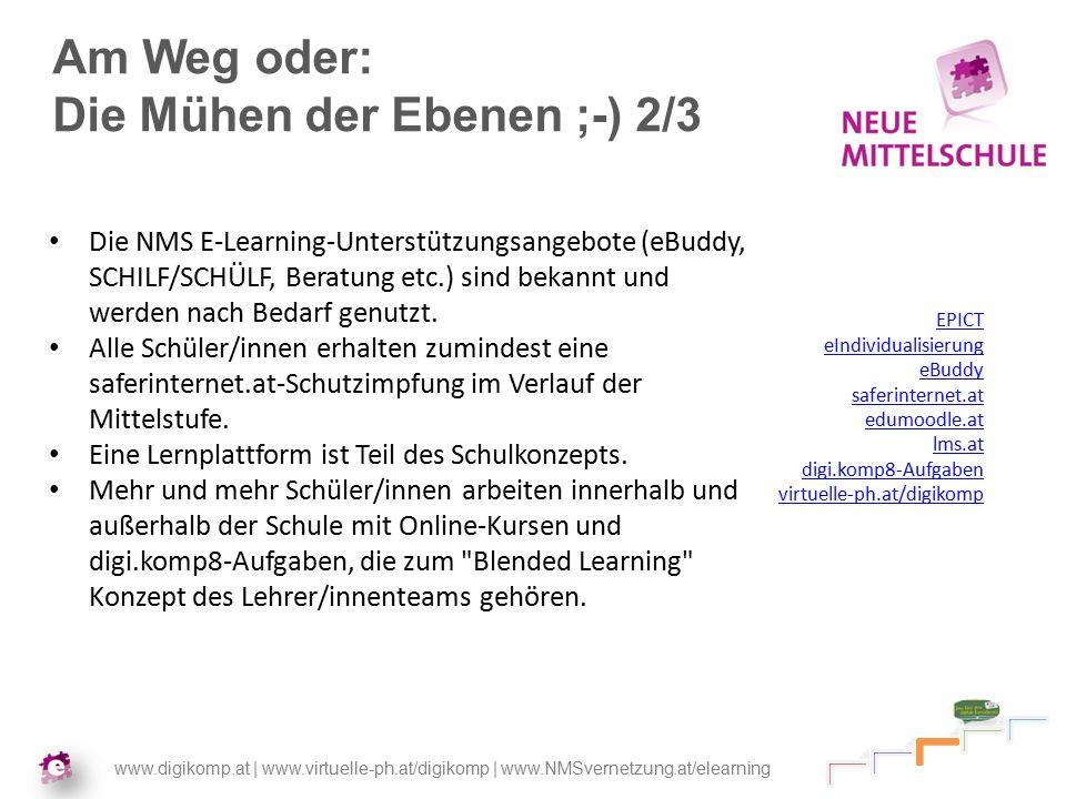 www.digikomp.at | www.virtuelle-ph.at/digikomp | www.NMSvernetzung.at/elearning Am Weg oder: Die Mühen der Ebenen ;-) 2/3 Die NMS E-Learning-Unterstützungsangebote (eBuddy, SCHILF/SCHÜLF, Beratung etc.) sind bekannt und werden nach Bedarf genutzt.
