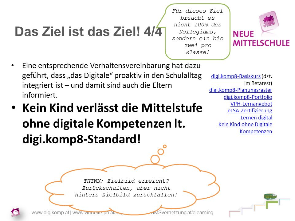 www.digikomp.at | www.virtuelle-ph.at/digikomp | www.NMSvernetzung.at/elearning Das Ziel ist das Ziel.