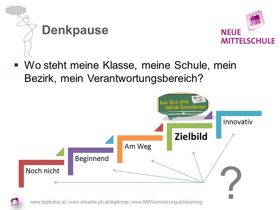 www.digikomp.at | www.virtuelle-ph.at/digikomp | www.NMSvernetzung.at/elearning Denkpause  Wo steht meine Klasse, meine Schule, mein Bezirk, mein Verantwortungsbereich.