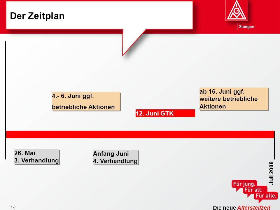 Die neue Altersteilzeit Stuttgart 14 Der Zeitplan Juli 2008 12. Juni GTK 4.- 6. Juni ggf. betriebliche Aktionen 4.- 6. Juni ggf. betriebliche Aktionen