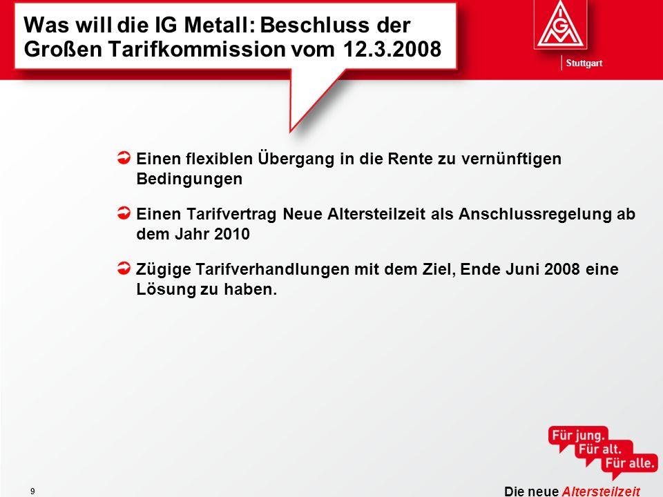 Die neue Altersteilzeit Stuttgart 9 Was will die IG Metall: Beschluss der Großen Tarifkommission vom 12.3.2008 Einen flexiblen Übergang in die Rente zu vernünftigen Bedingungen Einen Tarifvertrag Neue Altersteilzeit als Anschlussregelung ab dem Jahr 2010 Zügige Tarifverhandlungen mit dem Ziel, Ende Juni 2008 eine Lösung zu haben.