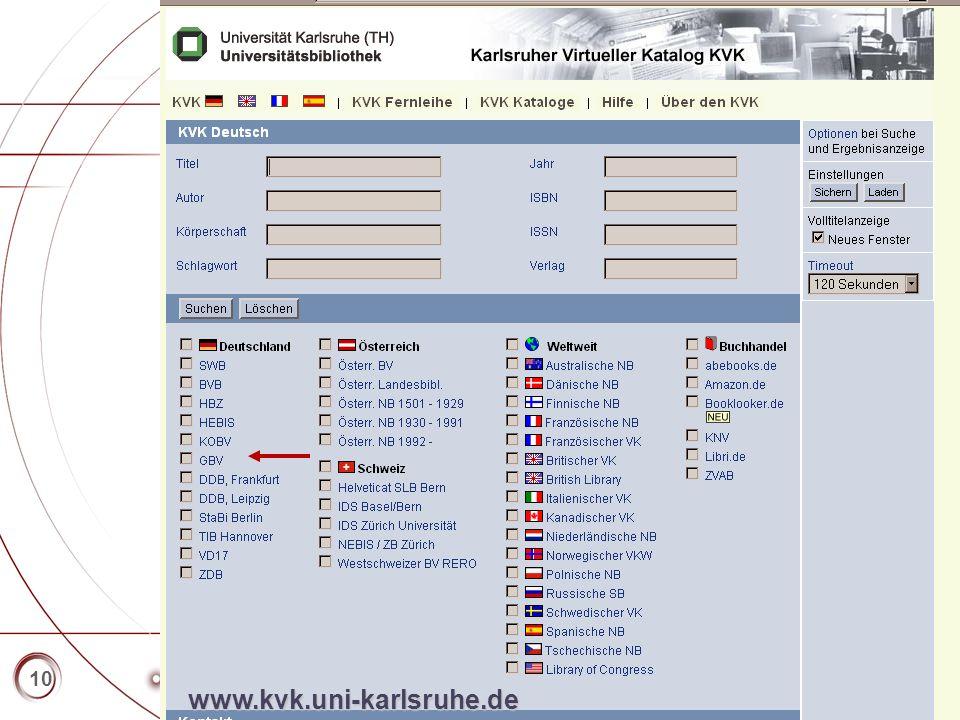 Titelmasterformat durch Klicken bearbeiten   Textmasterformate durch Klicken bearbeiten   Zweite Ebene   Dritte Ebene   Vierte Ebene   Fünfte Ebene 10 www.kvk.uni-karlsruhe.de