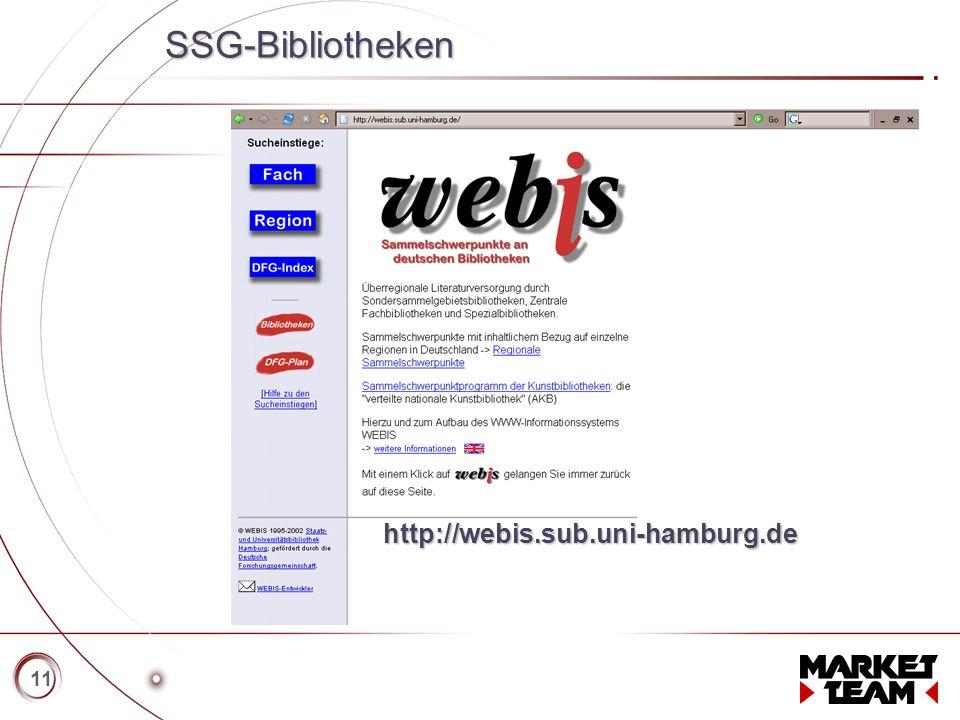 Titelmasterformat durch Klicken bearbeiten   Textmasterformate durch Klicken bearbeiten   Zweite Ebene   Dritte Ebene   Vierte Ebene   Fünfte Ebene 11 SSG-Bibliotheken http://webis.sub.uni-hamburg.de