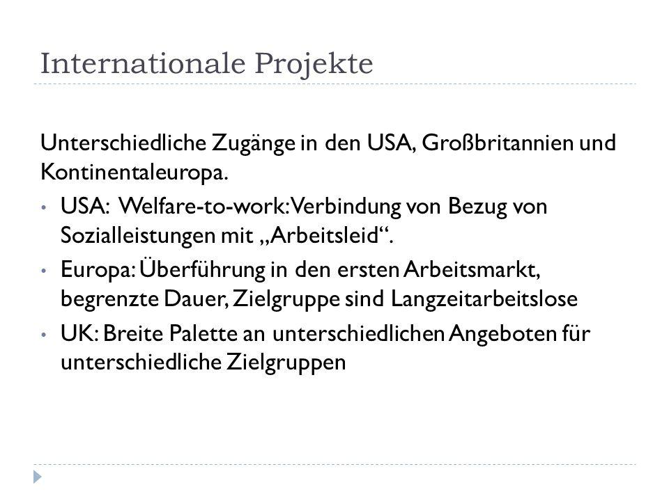 Internationale Projekte Unterschiedliche Zugänge in den USA, Großbritannien und Kontinentaleuropa. USA: Welfare-to-work: Verbindung von Bezug von Sozi